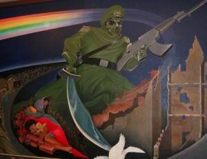 Denver Airport Murals depicting an apocalyptic conflict.